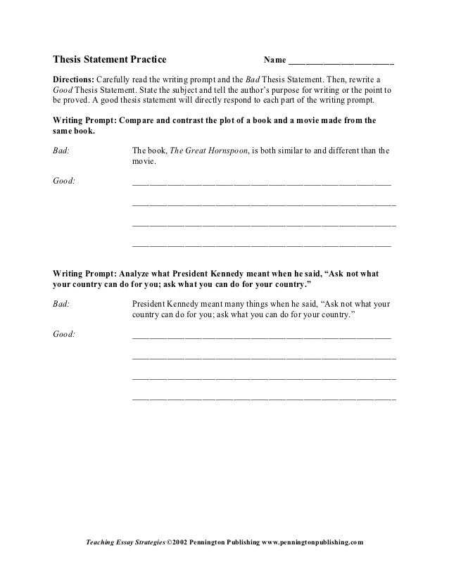 Thesis Statement Practice Name