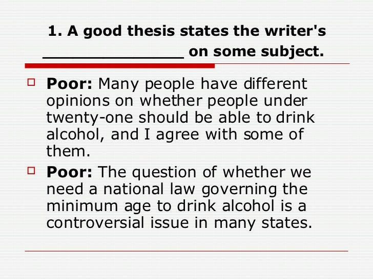 Thesis statement for alcoholism