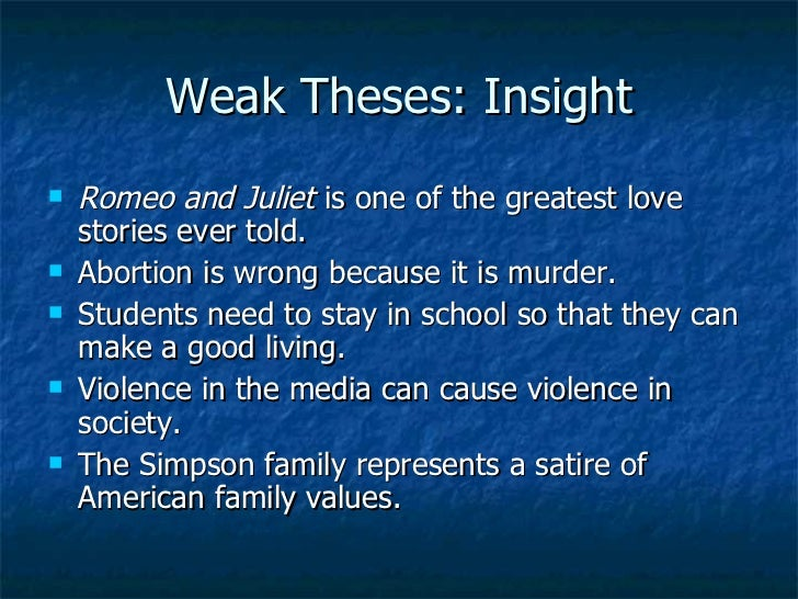 good thesis statements on abortion