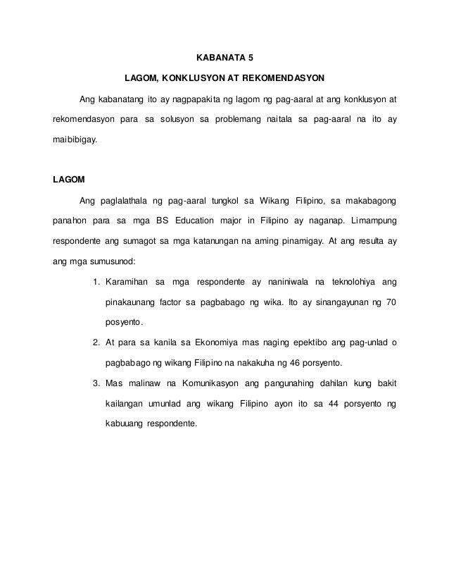 thesis tungkol sa wikang filipino sa makabagong panahon