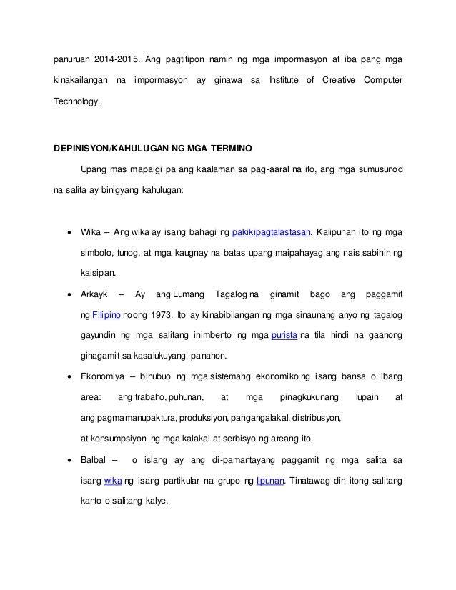 thesis tungkol sa wikang balbal