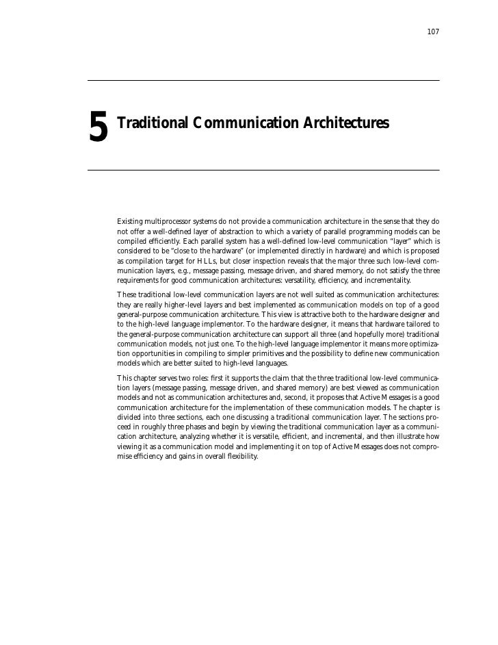 107     5   Traditional Communication Architectures         Existing multiprocessor systems do not provide a communication...