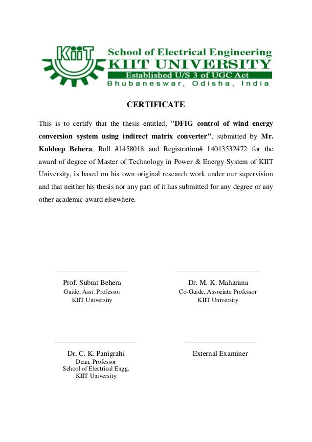dfig thesis Conversion, the doubly-fed induction generator (dfig) is one of the preferred   this thesis starts by reviewing the mathematical models of wind turbines with.