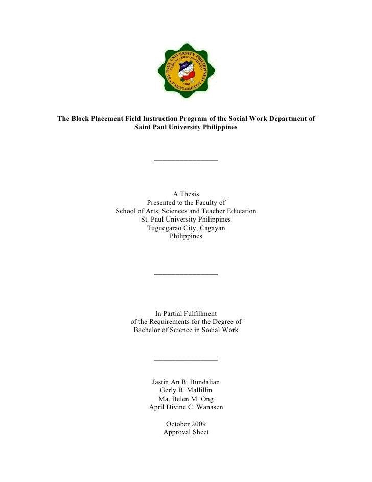 The Block Placement Field Instruction Program of the Social Work Department of                       Saint Paul University...