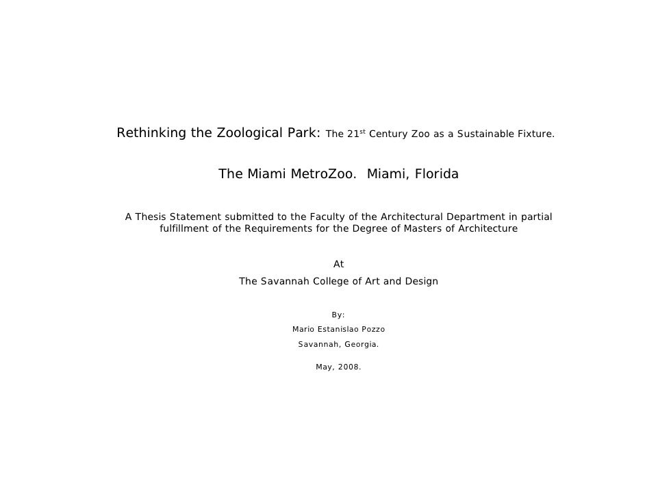 Rethinking the Zoological Park: The 21st Century Zoo as a Sustainable Fixture.                      The Miami MetroZoo. Mi...