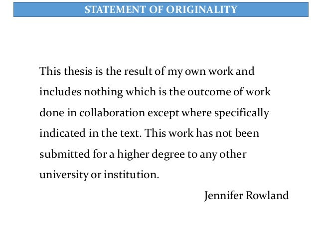 Dissertation statement of originality