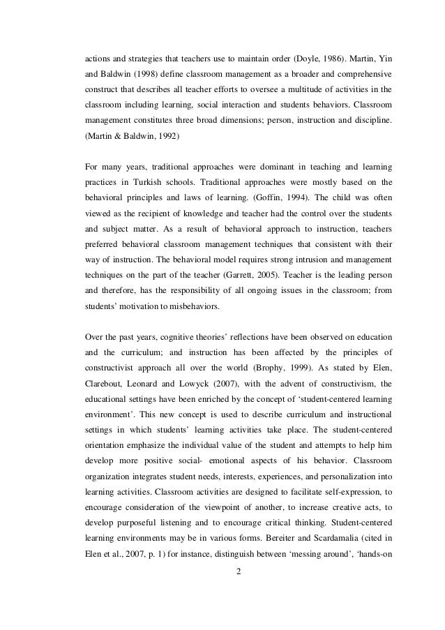 classroom management dissertations A dissertation presented in partial fulfillment of the requirements  regarding instructional and behavioral classroom management beliefs were contrasted in.