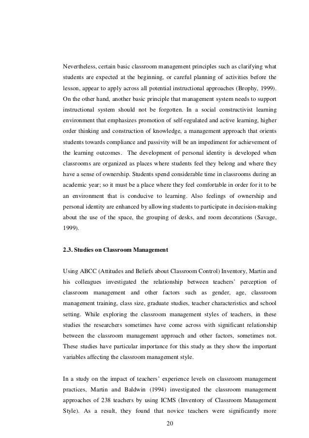 dissertations on classroom management