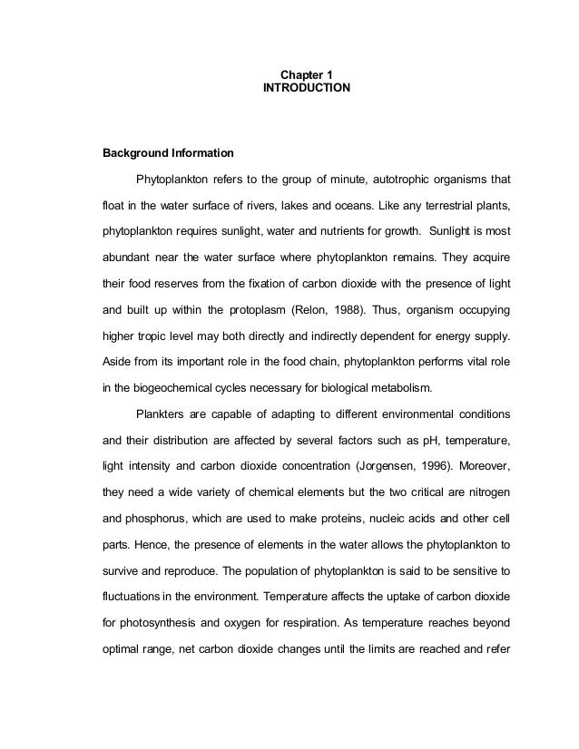 Chapter 1 INTRODUCTION Background Information Phytoplankton refers to the group of minute, autotrophic organisms that floa...