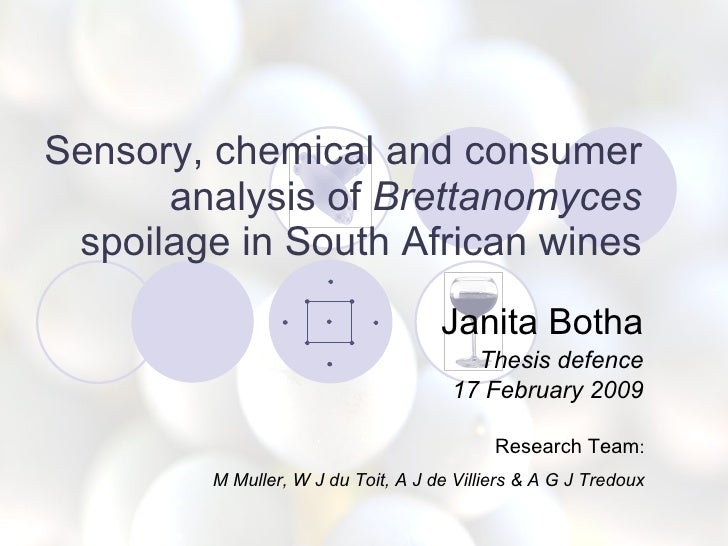 Sensory, chemical and consumer analysis of  Brettanomyces  spoilage in South African wines Janita Botha Thesis defence 17 ...