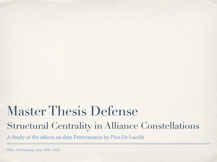 Master's Thesis Defense Presentation Outline