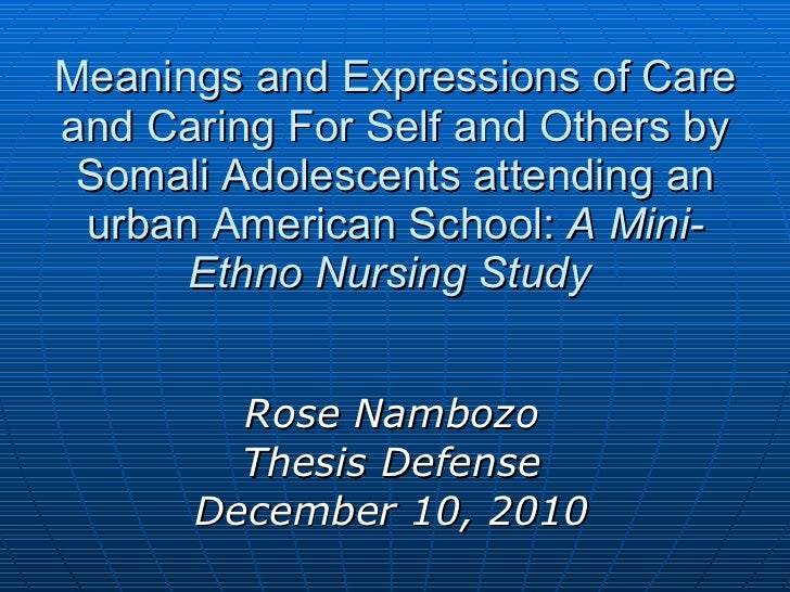 Meanings and Expressions of Care and Caring For Self and Others by Somali Adolescents attending an urban American School: ...