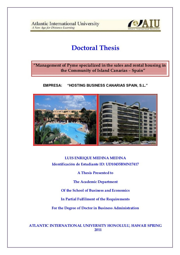"Doctoral Thesis ""Management of Pyme specialized in the sales and rental housing in            the Community of Island Cana..."