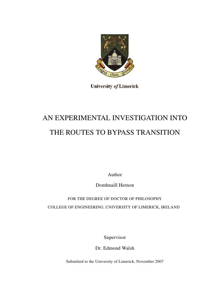 AN EXPERIMENTAL INVESTIGATION INTO  THE ROUTES TO BYPASS TRANSITION                                    Author             ...