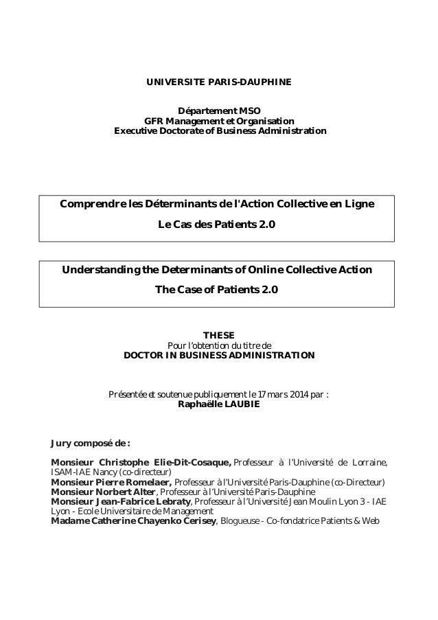 UNIVERSITE PARIS-DAUPHINE Département MSO GFR Management et Organisation Executive Doctorate of Business Administration TH...