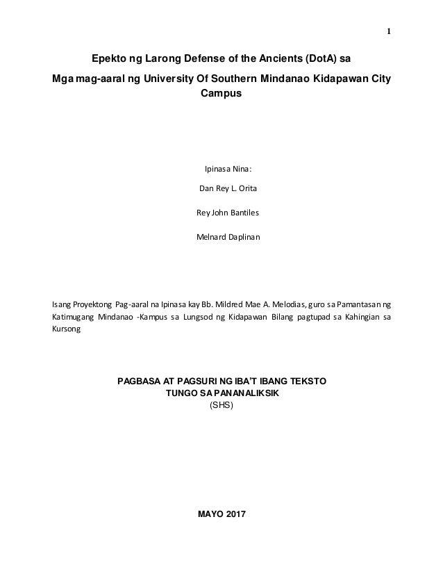 halimbawa ng thesis sa filipino tungkol sa dota