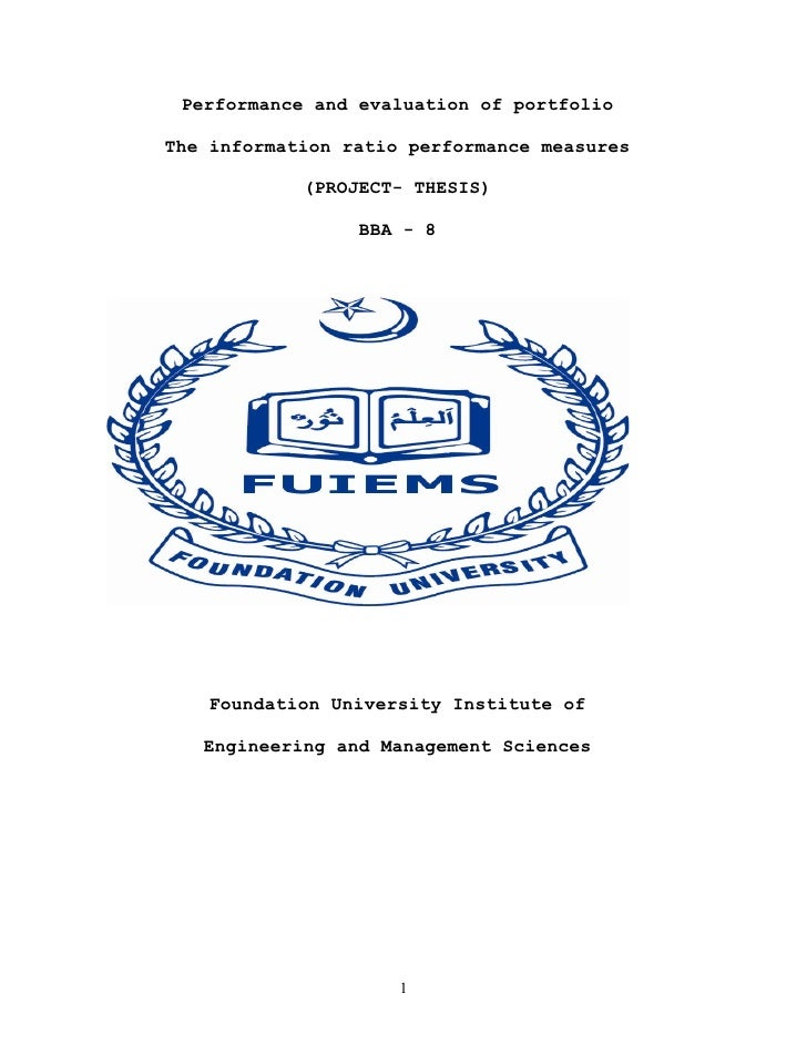 Performance and evaluation of portfolioThe information ratio performance measures            (PROJECT- THESIS)            ...