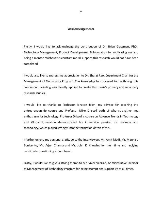 acknowledgements involving phd thesis