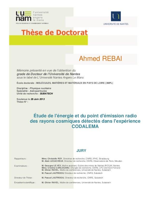 Ahmed REBAI  Mémoire présenté en vue de l'obtention du  grade de Docteur de l'Université de Nantes  sous le label de L'Uni...