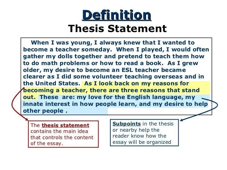 Thesis For Response To Literature  Thesis Statement