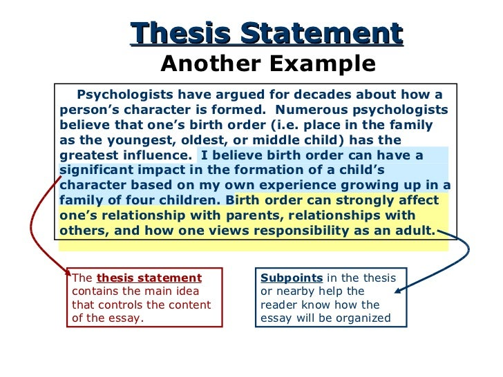 Thesis statement for birth order paper