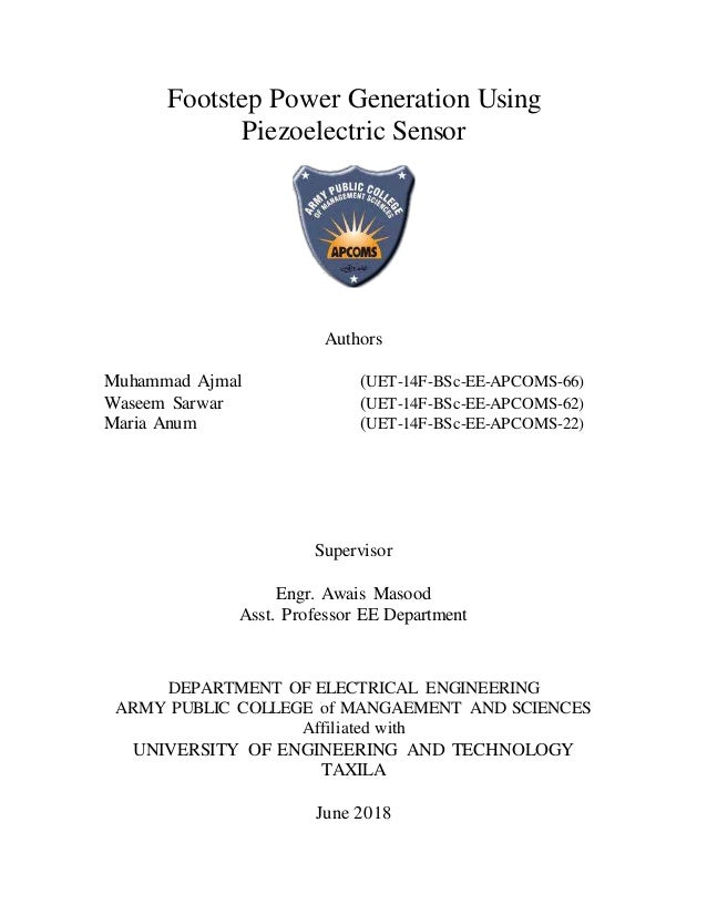 thesis of footstep power generationElectrical Generator Using Piezo Electric Effect From Passing Traffic #18