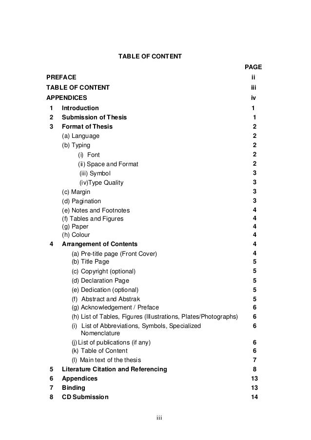 Order of contents in dissertation