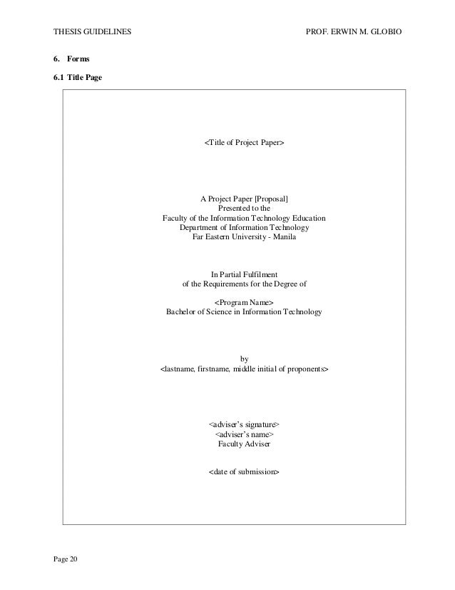 thesis proposal format for information technology