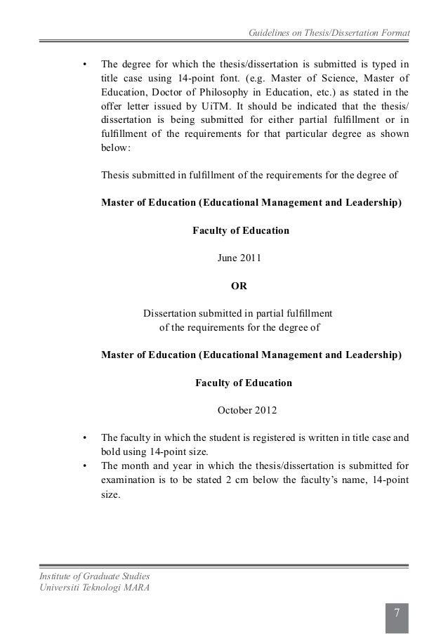 format thesis uitm 2014