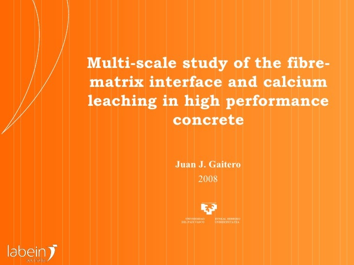 Multi-scale study of the fibre-matrix interface and calcium leaching in high performance concrete Juan J. Gaitero 2008