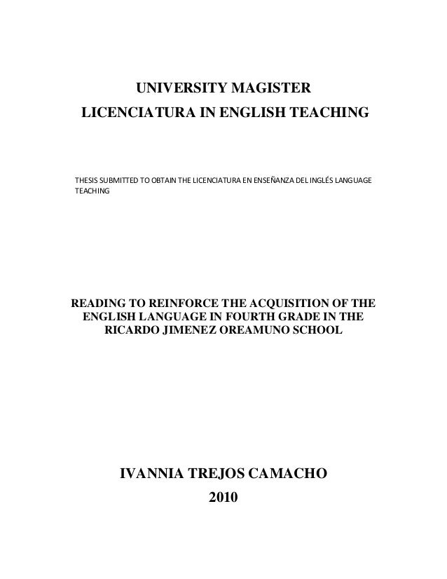 UNIVERSITY MAGISTER LICENCIATURA IN ENGLISH TEACHING  THESIS SUBMITTED TO OBTAIN THE LICENCIATURA EN ENSEÑANZA DEL INGLÉS ...