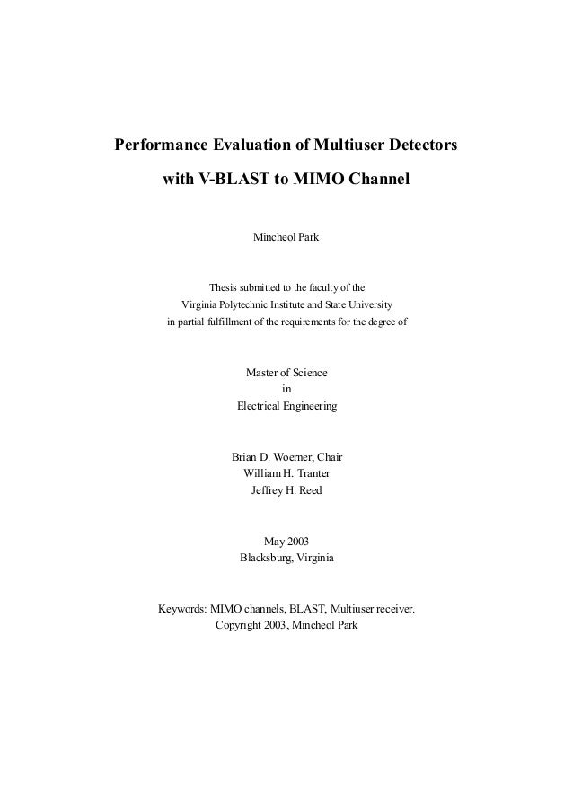 Performance Evaluation of Multiuser Detectors      with V-BLAST to MIMO Channel                           Mincheol Park   ...