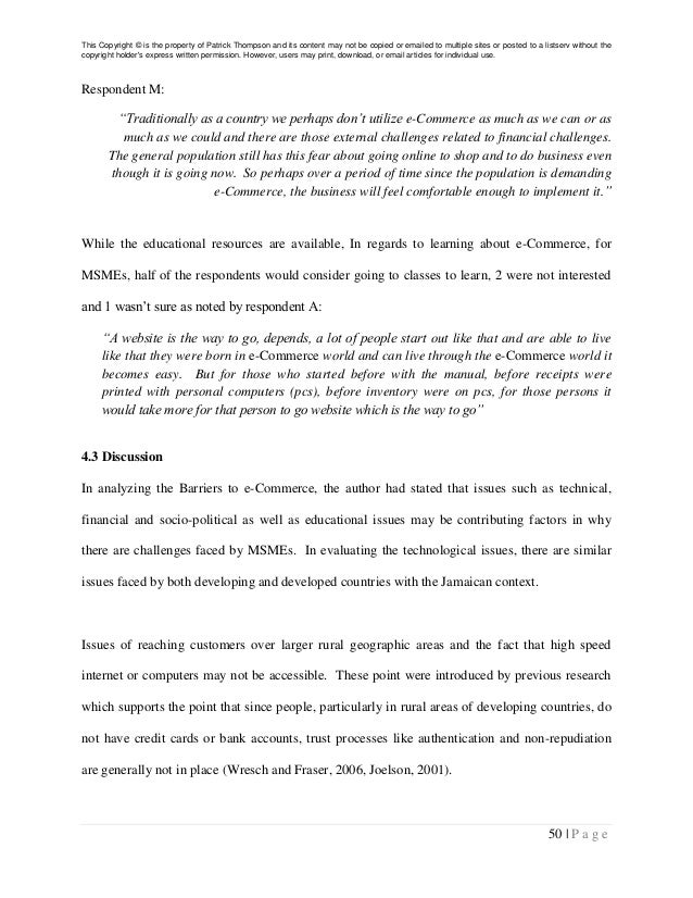 Dissertation proposal e commerce The influence of B B e commerce on SMEs  performance and efficiency  A  review of the literature  PDF Download Available