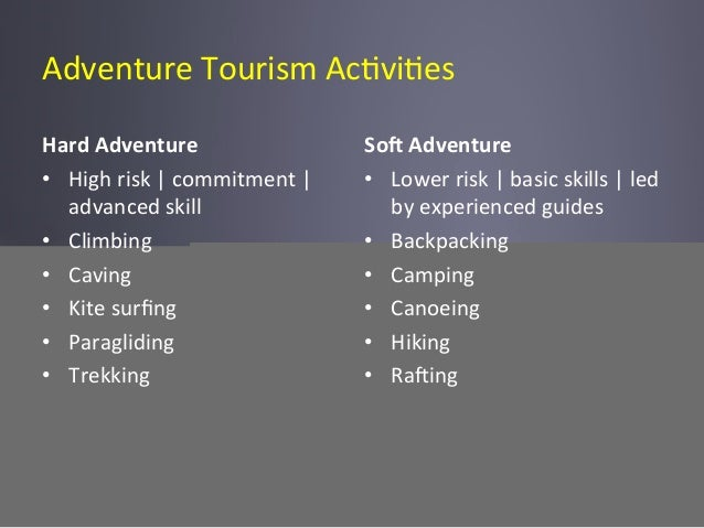 Adventure  Tourism  Ac6vi6es   Hard  Adventure         • High  risk  |  commitment  |   advanced...