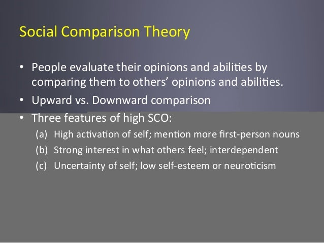 Social  Comparison  Theory   • People  evaluate  their  opinions  and  abili6es  by   comparing  th...
