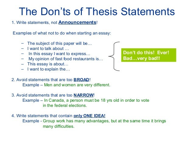 Thesis Power Point  The Donts Of Thesis Statements