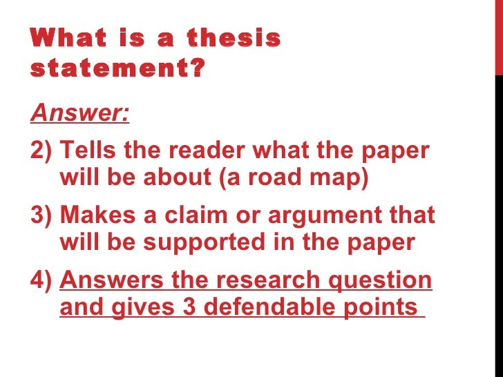 what is included in a thesis paragraph