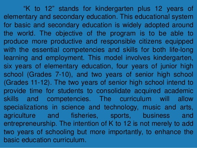 local literature about k+12 program