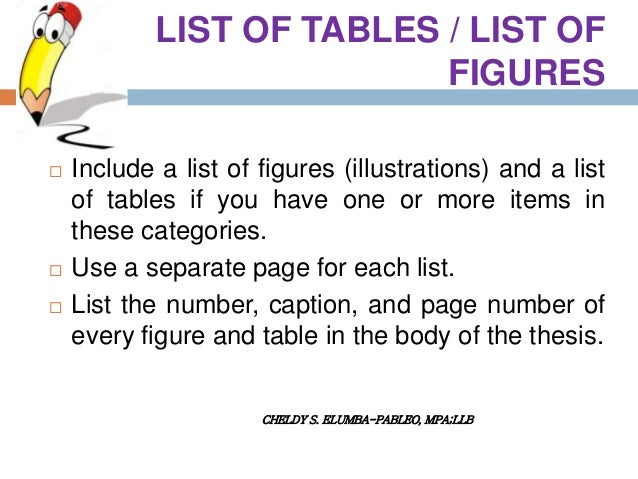 apa dissertation list of figures The following order is required for components of your thesis or dissertation: title page copyright page abstract dedication, acknowledgements, and preface ( each optional) table of contents, with page numbers list of tables, list of figures, or list of illustrations, with titles and page numbers (if applicable) list of.