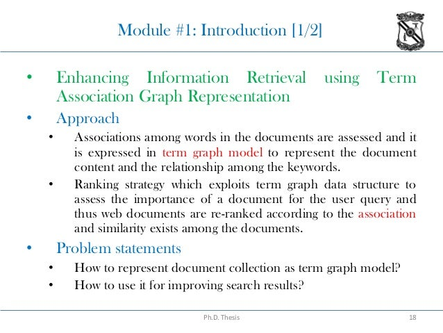 thesis information retrieval Thesis/dissertation resource relation: other information: thesis  {adaptive information retrieval: machine learning in associate networks}, author =.