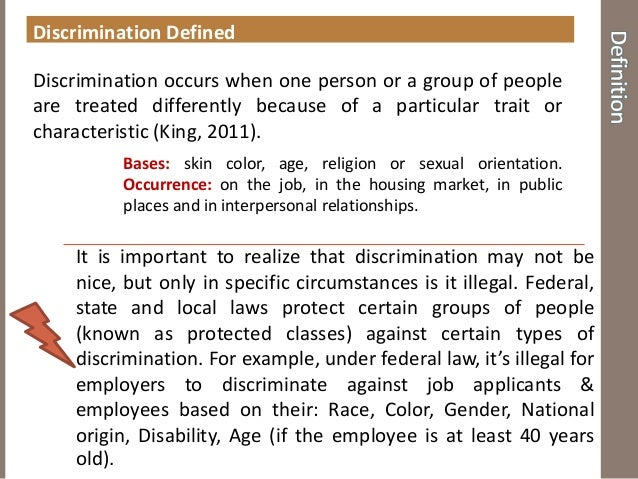 race gender discrimination in the u s labor market discrimination defined discrimination