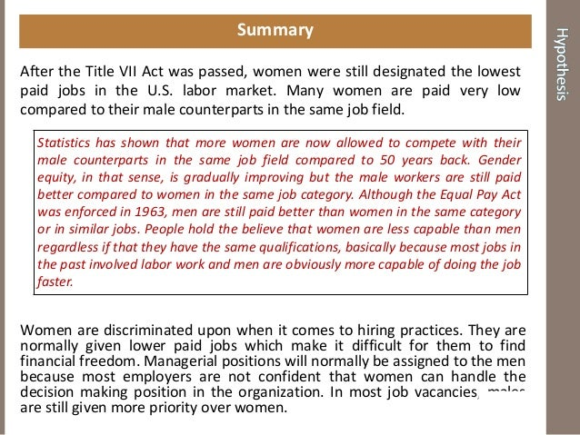 discrimination in the labor market 2 10 - 3 101 race and gender in the labour market some us & international data on gender and racial differences in skills and labour market outcomes.