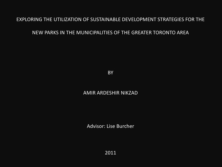 EXPLORING the utilization of sustainable development strategies FOR the <br /> <br />new parks IN the municipalities OF th...