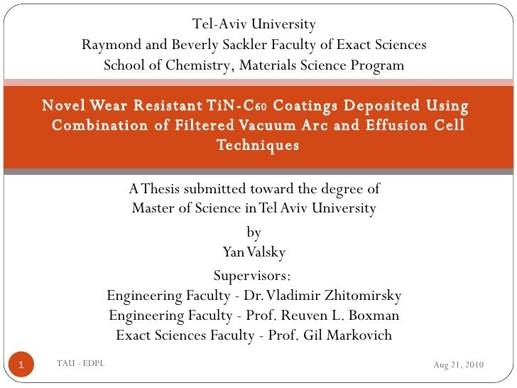 A Thesis submitted toward the degree of Master of Science in Tel Aviv University by Yan Valsky Supervisors:  Engineering F...