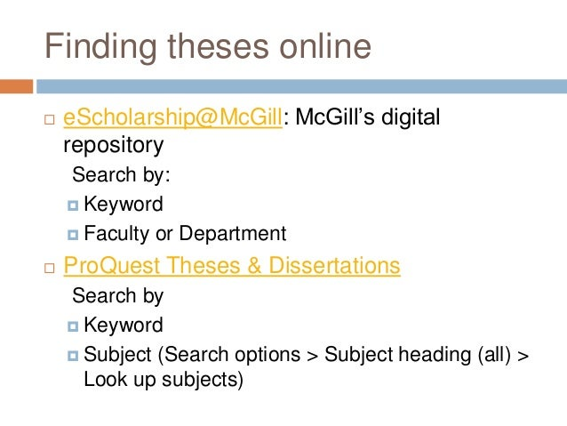 Proquest thesis search theses
