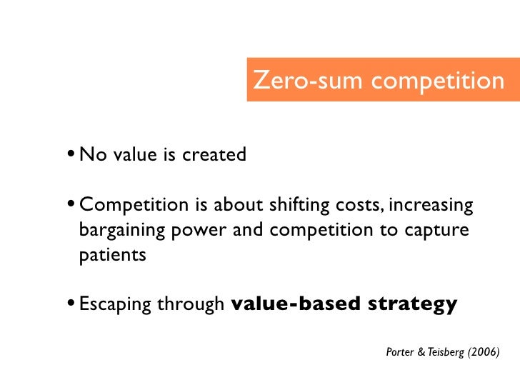 Zero-sum competition  • No value is created • Competition is about shifting costs, increasing  bargaining power and compet...