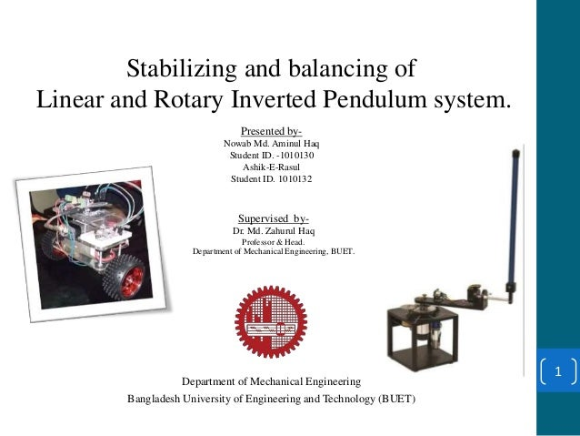 inverted pendulum thesis This thesis is brought to you for free and open access by the iowa state  university  system consists of a 2dof inverted pendulum on an  omnidirectional cart.