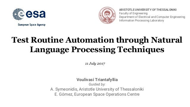 Test Routine Automation through Natural Language Processing Techniques Voulivasi Triantafyllia Guided by: A. Symeonidis, A...
