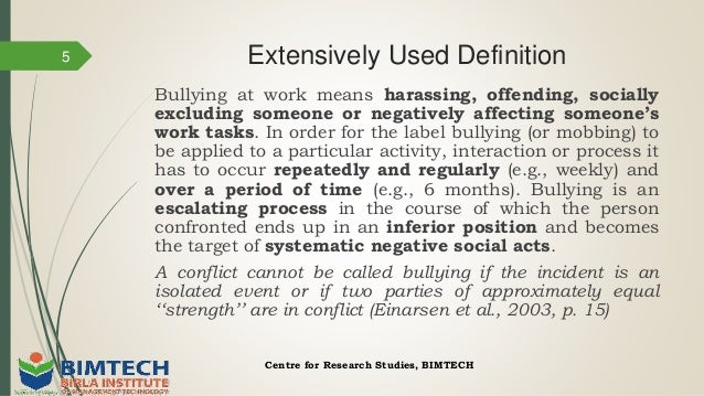Thesis statement on bullying in the workplace