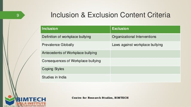 Workplace bullying: Ideas for researchers and scholars
